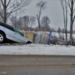 Car accident on icy road